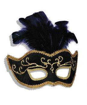 Women's Black Venetian Feathers Mask - Black - One Size