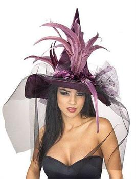 Purple Feather Adult Witch Hat