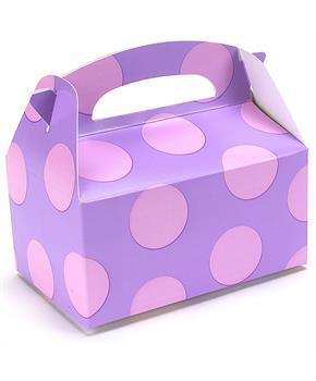 Lavender with Pink Dots Empty Favor Boxes