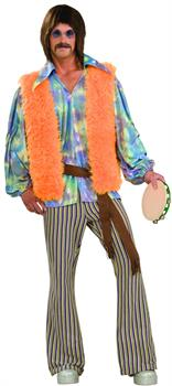 Men's 60's Singer Adult Costume - Orange - One Size for Halloween