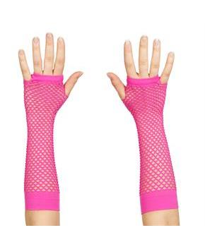 Women's 80's Neon Pink Long Fishnet Adult Gloves - Pink - One Size