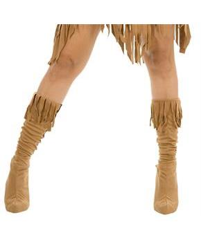 Women's Indian Maiden Suede Adult Boot Covers for Halloween