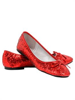 Red Glitter Star Flat Adult Shoes