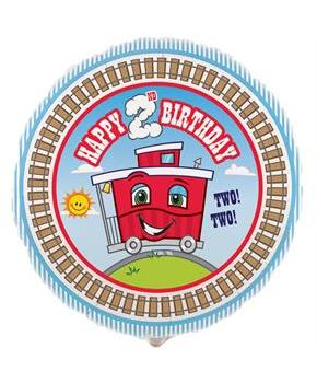 Two-Two Train 2nd Birthday Foil Balloon