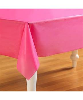 "Candy Hot Pink Plastic Tablecover 54"" x 108"""