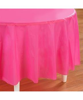 Candy Pink (Hot Pink) Round Plastic Tablecover 82""