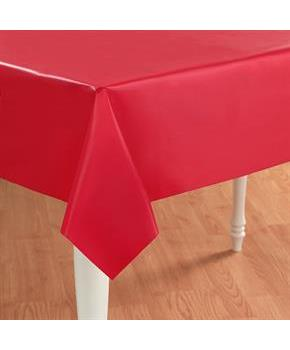 Classic Red Plastic Tablecover