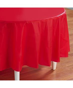 Classic Red (Red) Round Plastic Tablecover