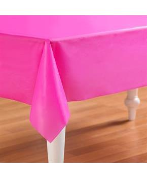 "Bright Pink Plastic Tablecover 54"" high x 108"" Wide"