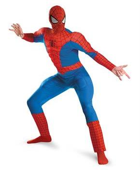 Men's Spider-Man Deluxe Muscle Plus Adult Costume - Red/Blue