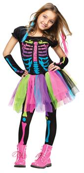 Girls Funky Punk Skeleton Child Costume