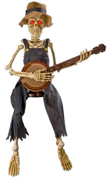 Men's Animated Banjo Playing Skeleton