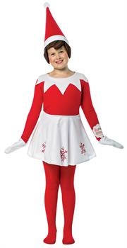 Girls Elf on the Shelf Dress Child Costume One-Size - Red and White