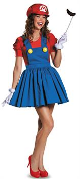 Women's Super Mario: Mario w/Skirt Adult Costume