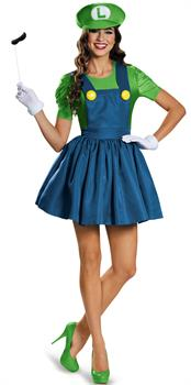 Super Mario: Luigi w/Skirt Adult Costume