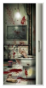 Halloween Creepy Crapper Restroom Door Cover