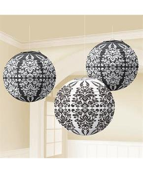 Black Damask Paper Lanterns