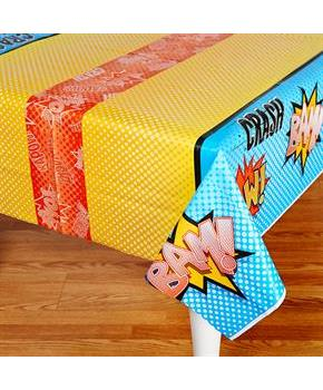 "Superhero Comics Plastic Tablecover 54"" x 108"""