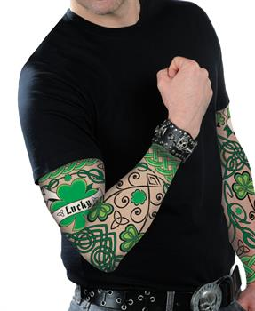 Men's St. Patrick's Day Adult Arm Tattoo Sleeves - Green - One-Size