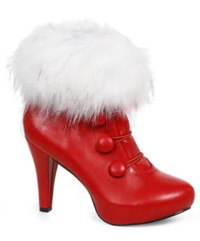Women's Red Ankle Boots with Faux Fur