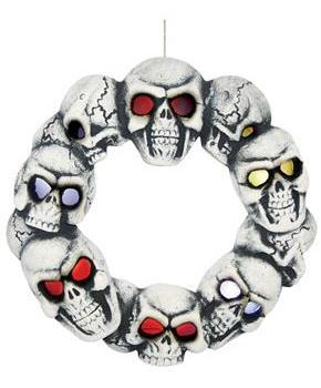 Skull Wreath with Lights