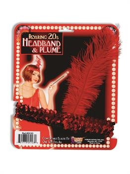 Flapper Headband Red With Red Feather