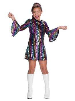 Rainbow Swirl Disco Diva-Child Costume