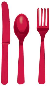 Apple Red Asstorted Cutlery