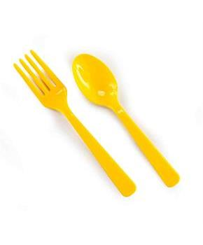 Yellow Forks & Yellow Spoons - 8 each