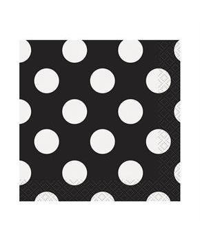 Black and White Dots Beverage Napkins
