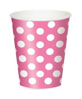 Pink and White Dots- 12 oz. Cups