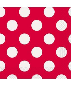 Red and White Dots Lunch Napkins