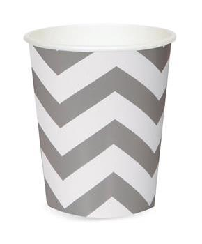 Chevron Silver 12 oz. Paper Cups (6) for Christmas