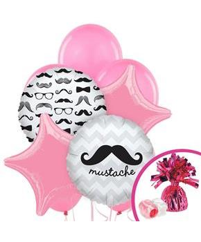 Girls Pink Mustache Balloon Bouquet - Multi-colored