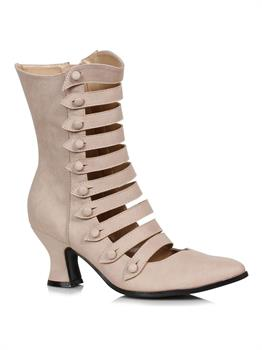 Womens Nude Strappy Heeled Booties