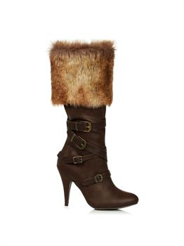 Womens Fur Trimmed Heeled Buckle Boots