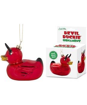 Devil Duckie Glass Holiday Ornament