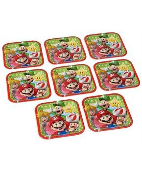 "Super Mario Bros. 7"" Square Paper Plates, 8 Count"