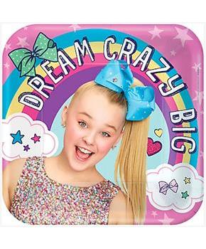 "JoJo Siwa 9"" Square Paper Party Plates, 8-Pack"