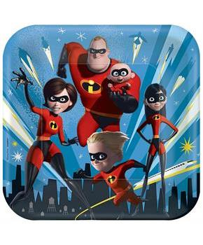 "Disney/Pixar Incredibles 2 9"" Square Paper Party Plates, 8-Pack"