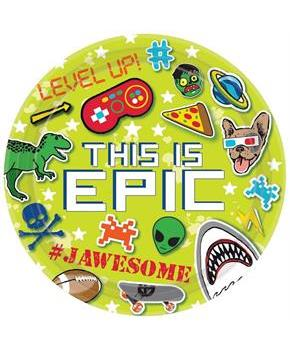 "Epic Party 9"" Square Paper Party Plates, 8-Pack"