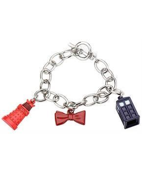 Doctor Who Charm Bow Tie, Tardis and Dalek Bracelet