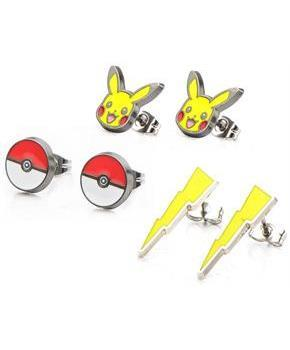 Pokemon Pikachu, Lightning Bolt and Pokeball Stud Earrings, Set of 3