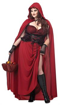 Dark Red Riding Hood Adult Costume Plus Size