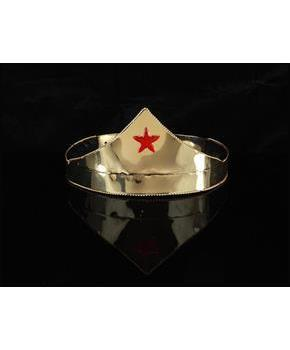 Wonder Gold and Red Star Adjustable Costume Crown Adult