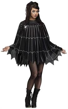 Spider Web Adult Costume Poncho, Black/Silver