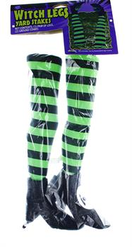 Witch Legs Yard Stakes Green/Black Halloween Decor