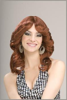 70's Disco Doll Auburn Red Adult Costume Wig