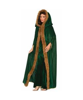 Medieval Fantasy Green W/Faux Fur Trim Adult Costume Cape