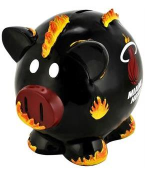 "Miami Heat NBA 8"" Resin Piggy Bank"